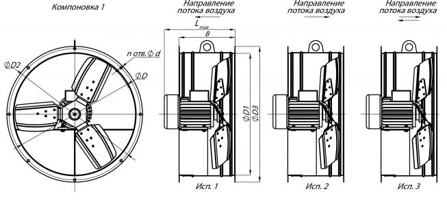 Схематичное изображение осевого вентилятора ВО 06-300, компоновка 1